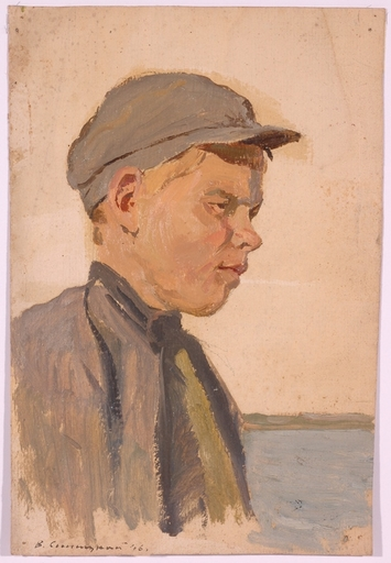 """Vladimir M. SINITSKI - Painting - """"Russian Peasant Boy"""", Oil Painting by Vladimir Sinitski"""