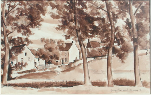 Georges PACOUIL - Drawing-Watercolor - Paysage d'Asquin