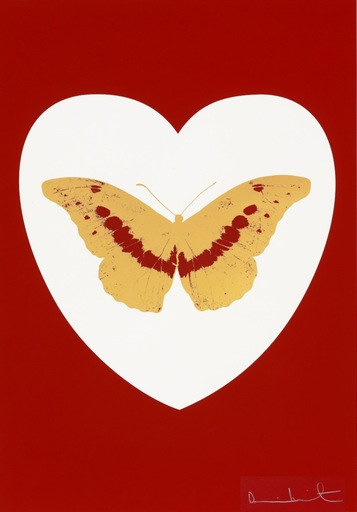 Damien HIRST - Print-Multiple - I Love You - White/Red/Cool Gold/Poppy Red