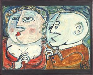 Hermann SERIENT - Painting - Das Doppelportrait