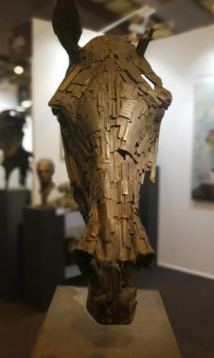 Christophe CHARBONNEL - Scultura Volume - Tête de cheval métal