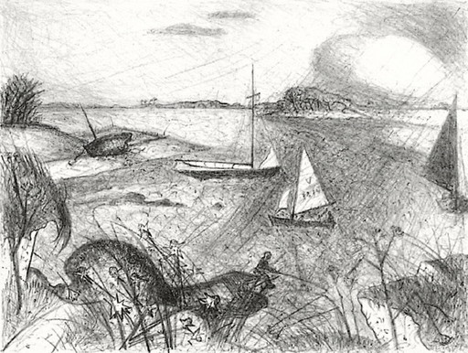 Jacques LESTRILLE - Grabado - Bord de mer