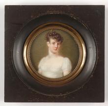 "Jean-Baptiste AUGUSTIN (Attrib.) - Miniatura - ""Comtesse D'Uzech"", outstanding miniature, 1805/10"