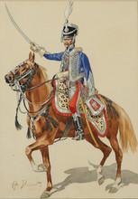 "Horace VERNET - Drawing-Watercolor - ""Russian Hussar Raising his Sword"""