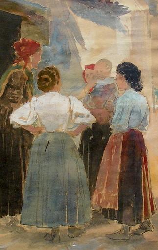 """Ulpiano CHECA Y SANZ - Drawing-Watercolor -  """"Colmenar de Oreja""""  bebe - femmes"""