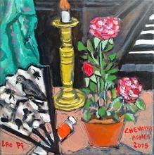 Jean-Pierre CHEVASSUS-AGNES - Painting - évantail roses chandelier  et piano