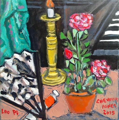 Jean-Pierre CHEVASSUS-AGNES - Peinture - évantail roses chandelier  et piano