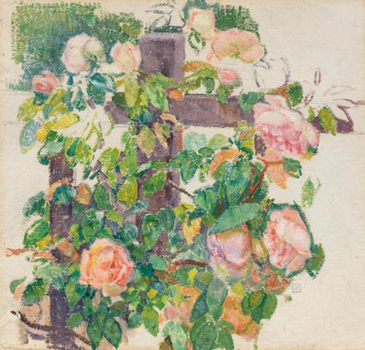 Théo VAN RYSSELBERGHE - Peinture - Roses grimpantes