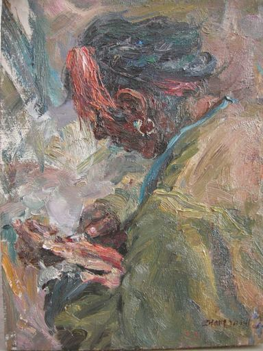 ZHANG Ai Min - Peinture - 刮羊肉 Slicing Lamb