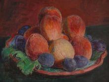 Hans PURRMANN - Painting - Stilleben mit Pfirsichen ind Pflaumen