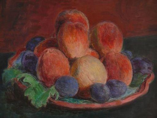 Hans PURRMANN - Pintura - Stilleben mit Pfirsichen ind Pflaumen