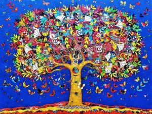 Jean-François LARRIEU - Peinture - Tree of life blue