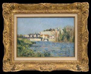 Gustave LOISEAU - Painting - Vue de Ville Ensoleillée à Travers la Rivière