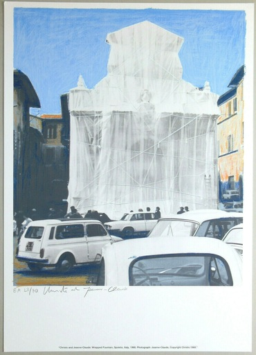 CHRISTO - Estampe-Multiple - Wrapped fountain, Spoleto