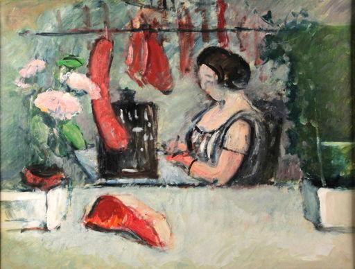 Ludwig BOCK - Peinture - Ludwig Bock 1886-1971 In der Metzgerei