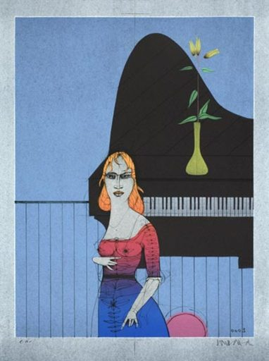 Paul WUNDERLICH - Grabado - Die Pianistin