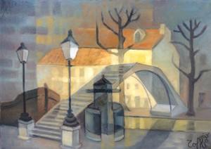 Louis TOFFOLI - Peinture - Canal Saint Martin