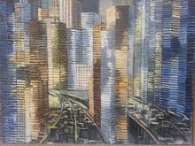 Helene AZENOR - Peinture - Ville III - effet de lumière et d'ombre -