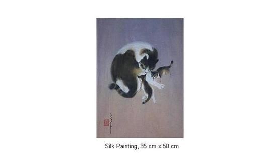 Mai LONG - Painting - Cat with Kittens, Long 12