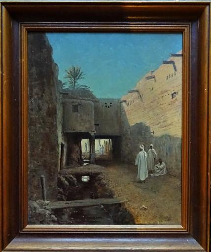 Charles Borromée A. HOURY - Peinture - Vieille rue animée à Biskra, Algérie circa 1892