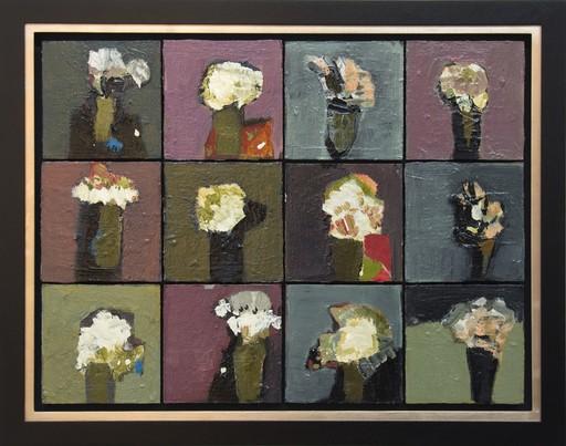 Jennifer HORNYAK - Pintura - Mosaic In Green and White