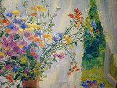 Michail PASNENKO - Painting - Blumenvase am Fenster