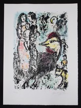 Marc CHAGALL - Estampe-Multiple - Family With Rooster (La Famille au Coq)