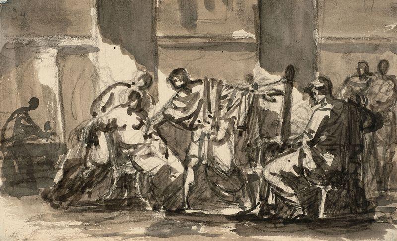 François GÉRARD - Drawing-Watercolor - Alexandre cédant sa maîtresse Campaspe au peintre Apelle
