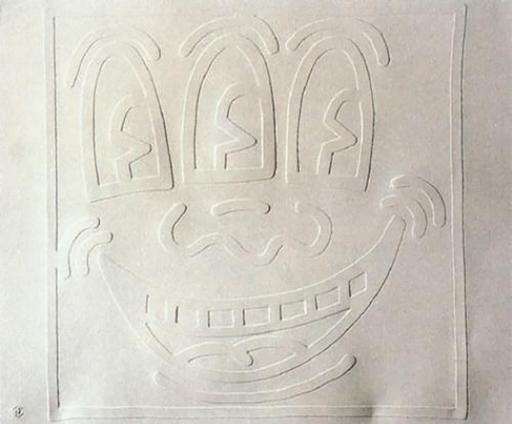凯特•哈林 - 版画 - White Icons - Three Eyed Man
