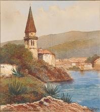 """Heinrich VON WERTHEIM - 水彩作品 - """"Capanil in Lusingrande"""",  early 20th century, Watercolor"""