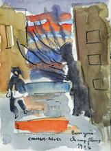 Jean-Pierre CHEVASSUS-AGNES - Drawing-Watercolor - Scène depuis les HLM Champfleury à Bourgoin jallieu ( 38)