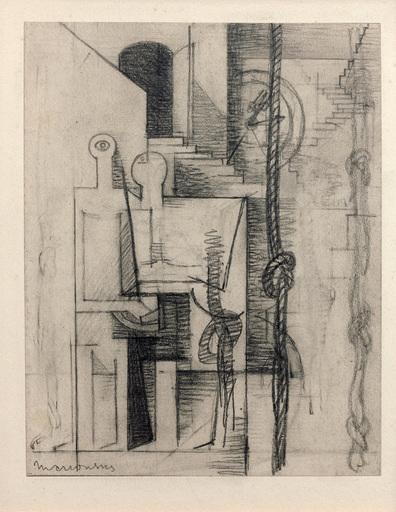 Louis MARCOUSSIS - Drawing-Watercolor - Asile de fous (Étude pour Aurélia)