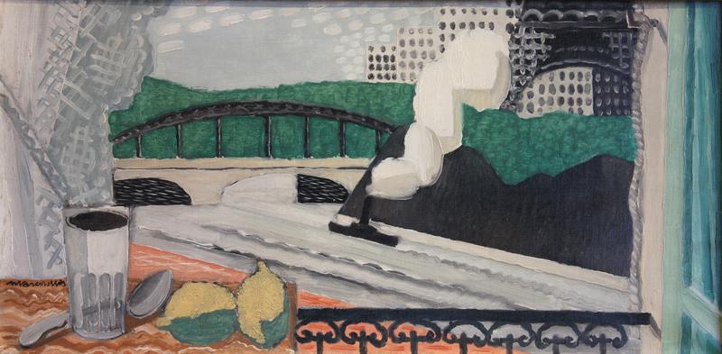 Louis MARCOUSSIS - Painting - La Seine et la Tour Eiffel, vue d'un balcon