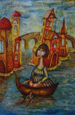 Katherine MULLER - Painting - Girl in the Boat