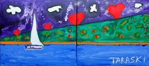 Giancarlo TARASKI - Painting - Cuori , Vela e mare