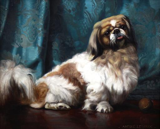 André LEROUX - Pintura - oil on canvas Portrait of a Pekingese dog