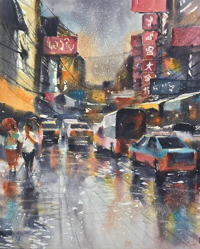 Attasit POKPONG - Pittura - Walking in the Rain II