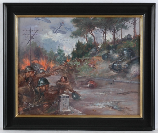 "Clemente TAFURI - Peinture - ""Carabinieri in Spanish Civil War"", 1938, Oil on Canvas"