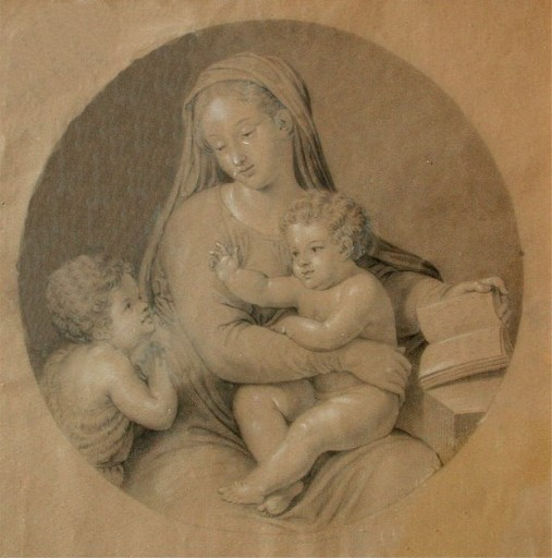Bertel THORWALDSEN - Drawing-Watercolor - Maria mit Christus und Johannes