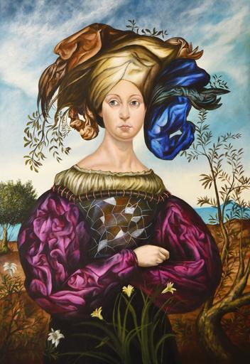 Carlos SABLÓN - Peinture - La Femme au chapeau