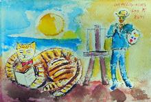 Jean-Pierre CHEVASSUS-AGNES - Drawing-Watercolor - artiste peintre et son chat