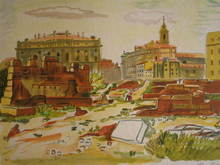 Yves BRAYER - Estampe-Multiple - Marseille:les amoureux dans les ruines,1974.