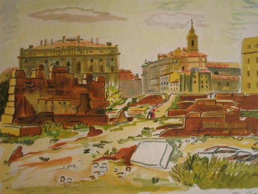 Yves BRAYER - Grabado - Marseille:les amoureux dans les ruines,1974.
