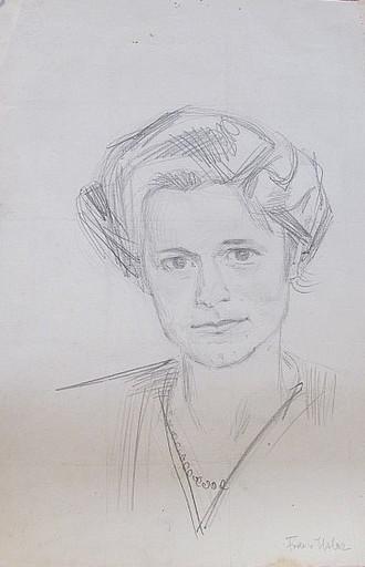 Erich HARTMANN - Disegno Acquarello - Frau v. Uslar.