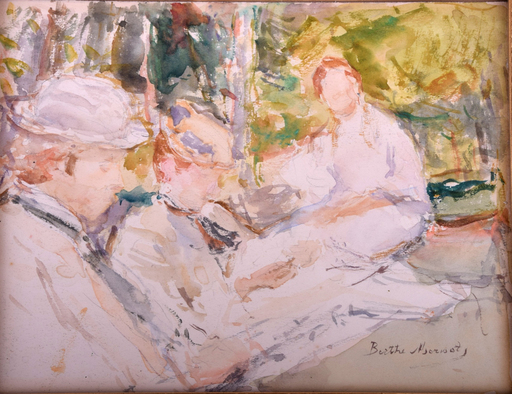 Berthe MORISOT - Drawing-Watercolor - Untitled (Figures Sitting En Plein Air)