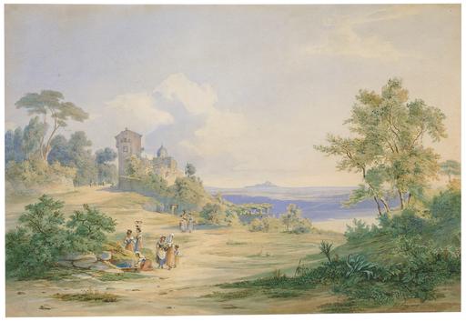 Johann Jakob FREY - Disegno Acquarello - Blick auf Castel Gandolfo am Albaner See.
