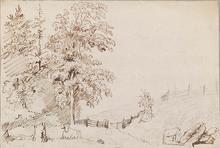 """Johann Christian KLENGEL - Drawing-Watercolor - """"Landscape with Shepherdess"""", ca 1800"""