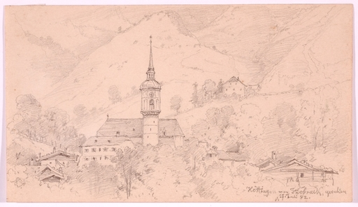 "August Friedrich SCHLEGEL - Drawing-Watercolor - ""Hoetting by Innsbruck"", Drawing, 1882"