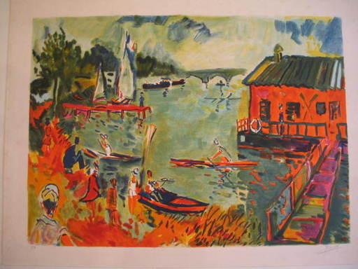 Jean-Claude PICOT - Grabado - L'école d'aviron,1984.