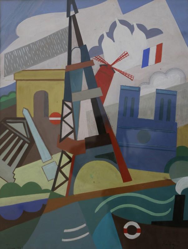 Pal PATZAY - Painting - Gouache Tour Eiffel Cubiste (attribué à)